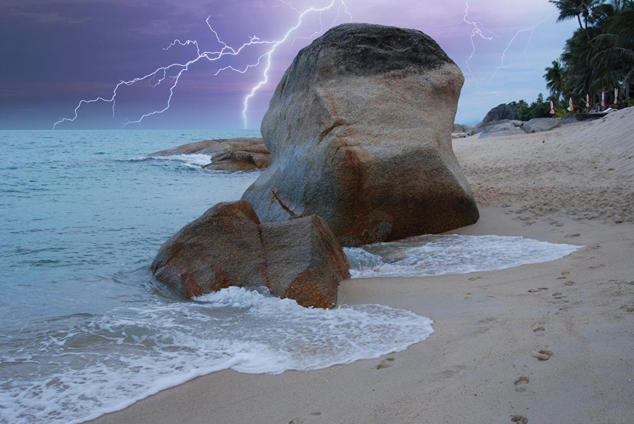 Tapeta Tajlandia Koh-Samui Piorun Natura Fale Kraje tropikalne kamień Wybrzeże Błyskawice przyroda Kamienie