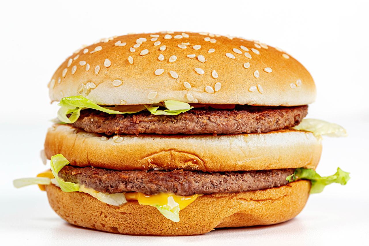 Wallpaper Frikadeller Hamburger Buns Fast food Food Closeup White background rissole meatballs