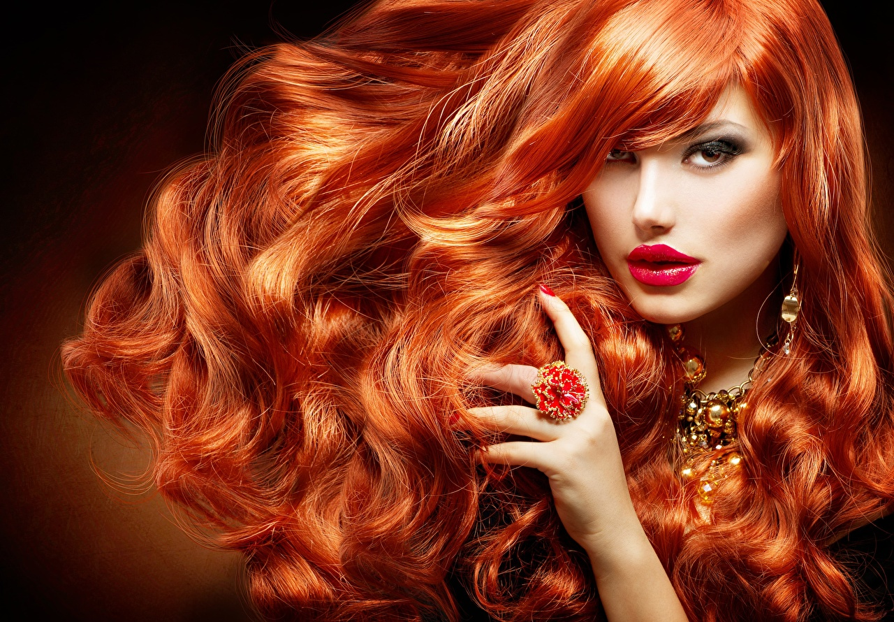 Desktop Wallpapers Redhead girl Makeup Hair Girls jewelry ring Hands Glance Jewelry female young woman Ring Staring