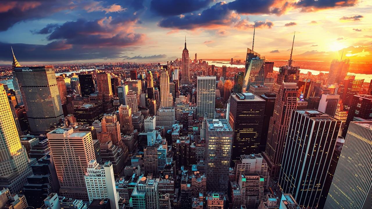 Photo Manhattan New York City USA Evening Skyscrapers Houses Cities Building