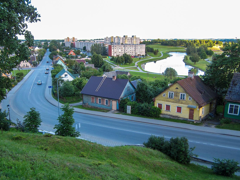 Fotos von Litauen Telsiai Teich Straße Haus Städte Wege Gebäude