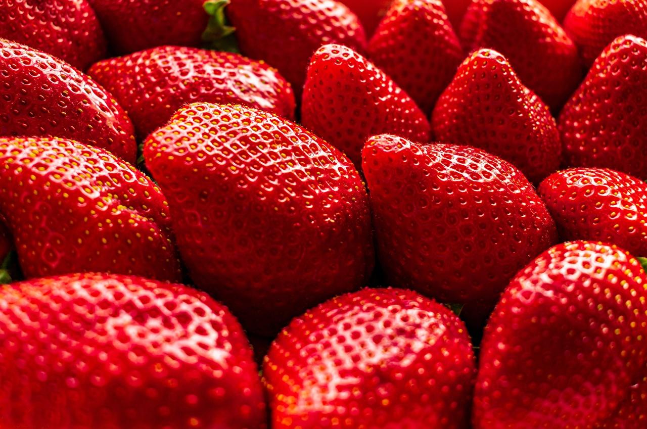 Fotos Erdbeeren Lebensmittel Großansicht das Essen hautnah Nahaufnahme