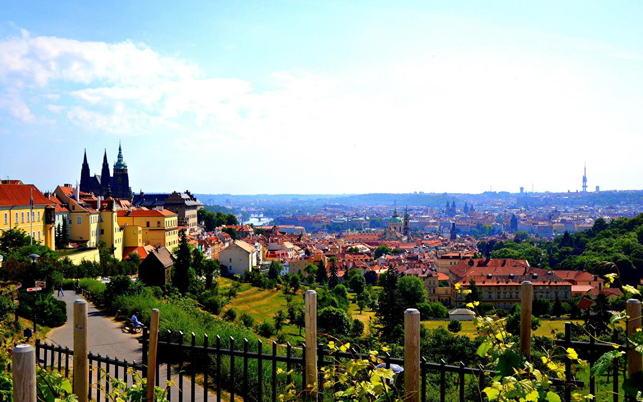 Image Prague Czech Republic Sky Fence Cities Houses Building