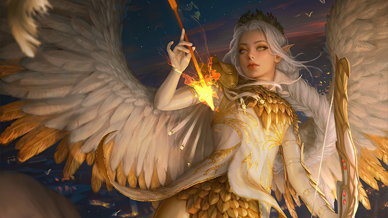 Desktop Wallpapers Archers Elf Wings Wooden arrow by Ina Wong, Keyria Amaryth Fantasy angel flame Elves arrows Fire Angels