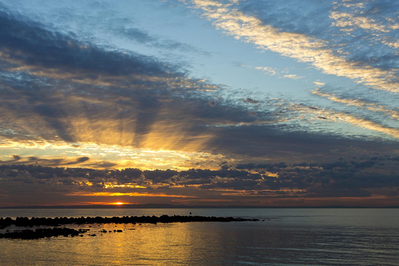 Bilder Australien Queensland Meer Natur Himmel Sonnenaufgänge und Sonnenuntergänge Wolke