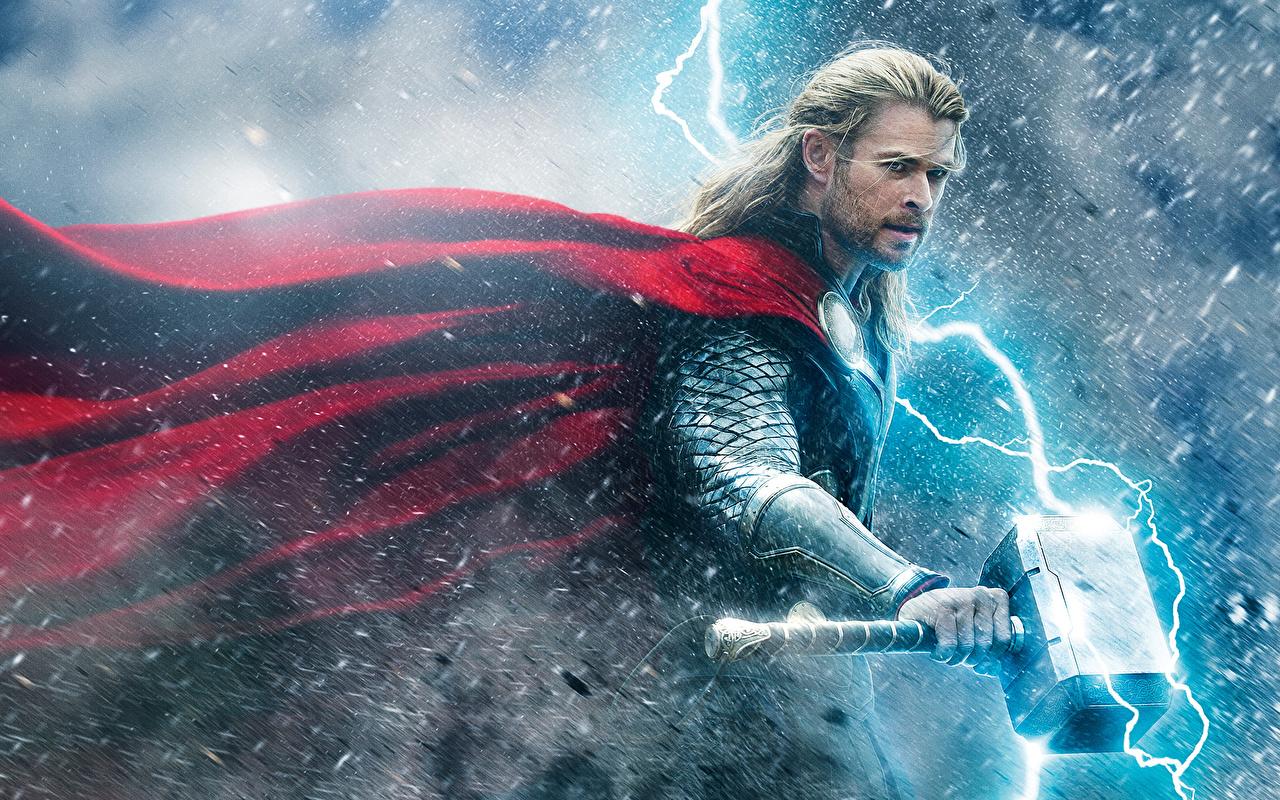 Picture Thor: The Dark World Chris Hemsworth Man warrior War hammer lightning bolts Fantasy Movies Cloak Celebrities Men Warriors Lightning film cape