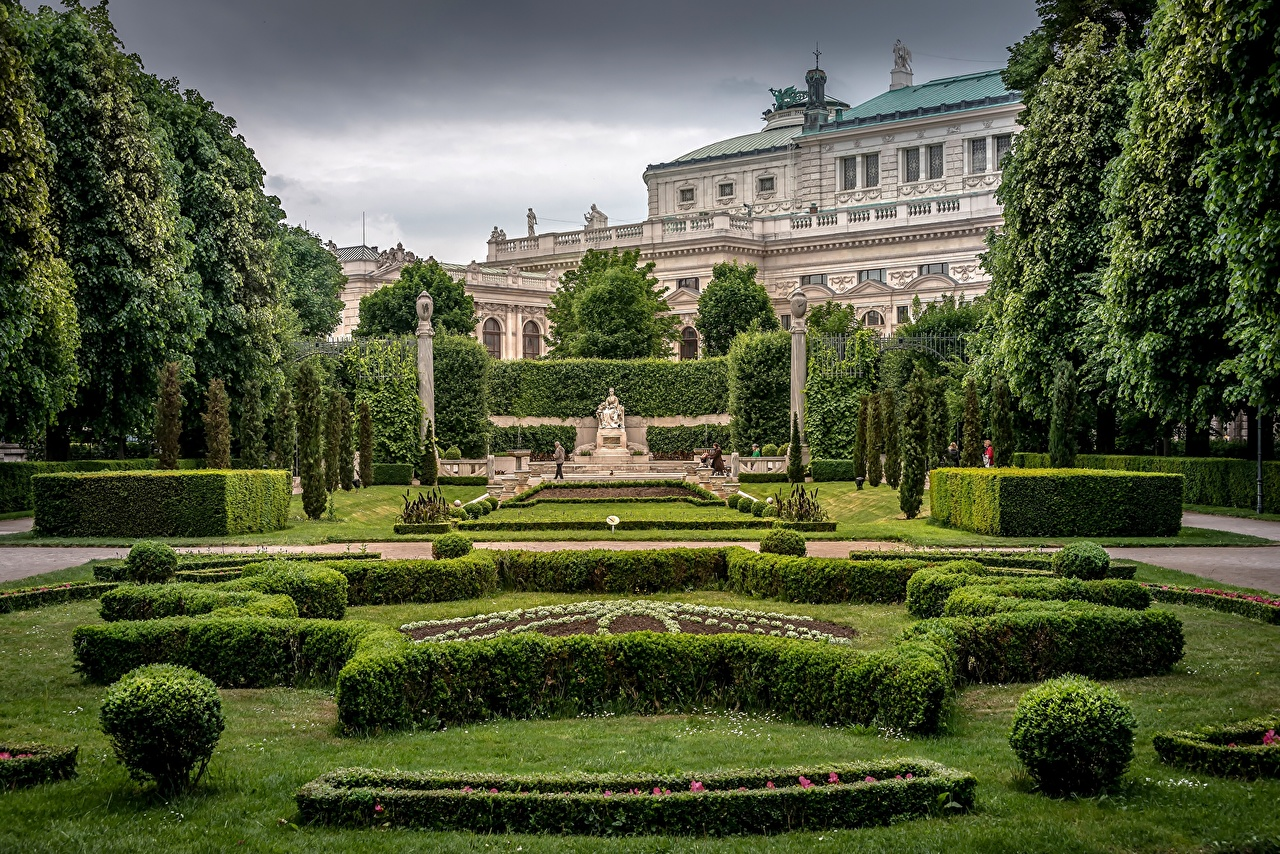 Images Vienna Austria Volksgarten People's Garden Empress Elizabeth Monument Burgtheater Hofburg Palace park Gardens Shrubs Cities Parks Bush