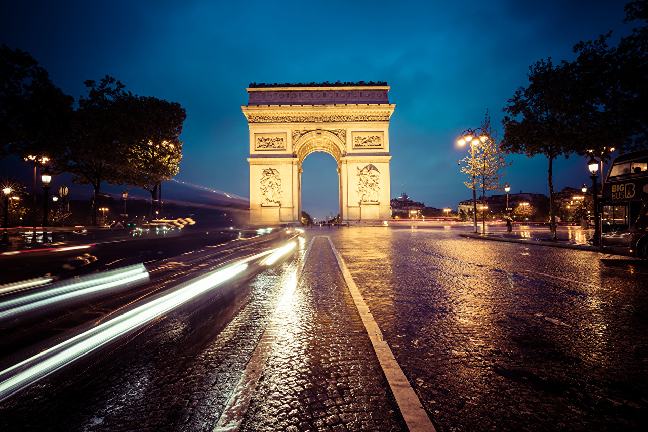 Wallpaper Paris France Arch Arc de Triomphe Roads Street at speed Night Cities moving riding Motion driving night time