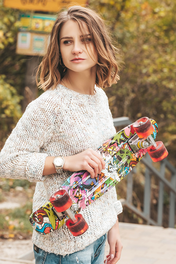 Desktop Wallpapers Brown haired Girls Sweater Skateboard Hands  for Mobile phone female young woman
