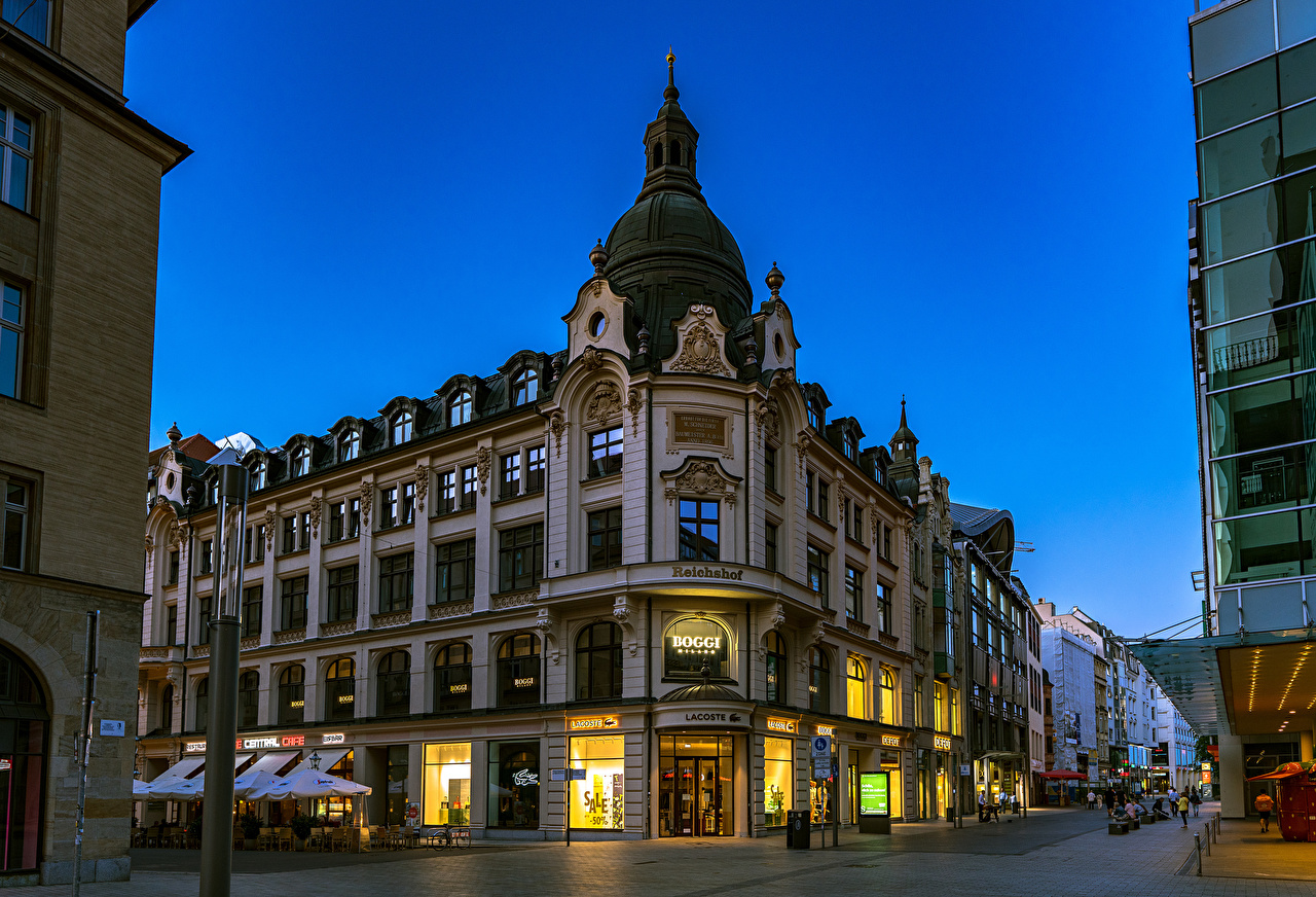 Pictures Germany Leipzig Street Evening Street lights Houses Cities Building