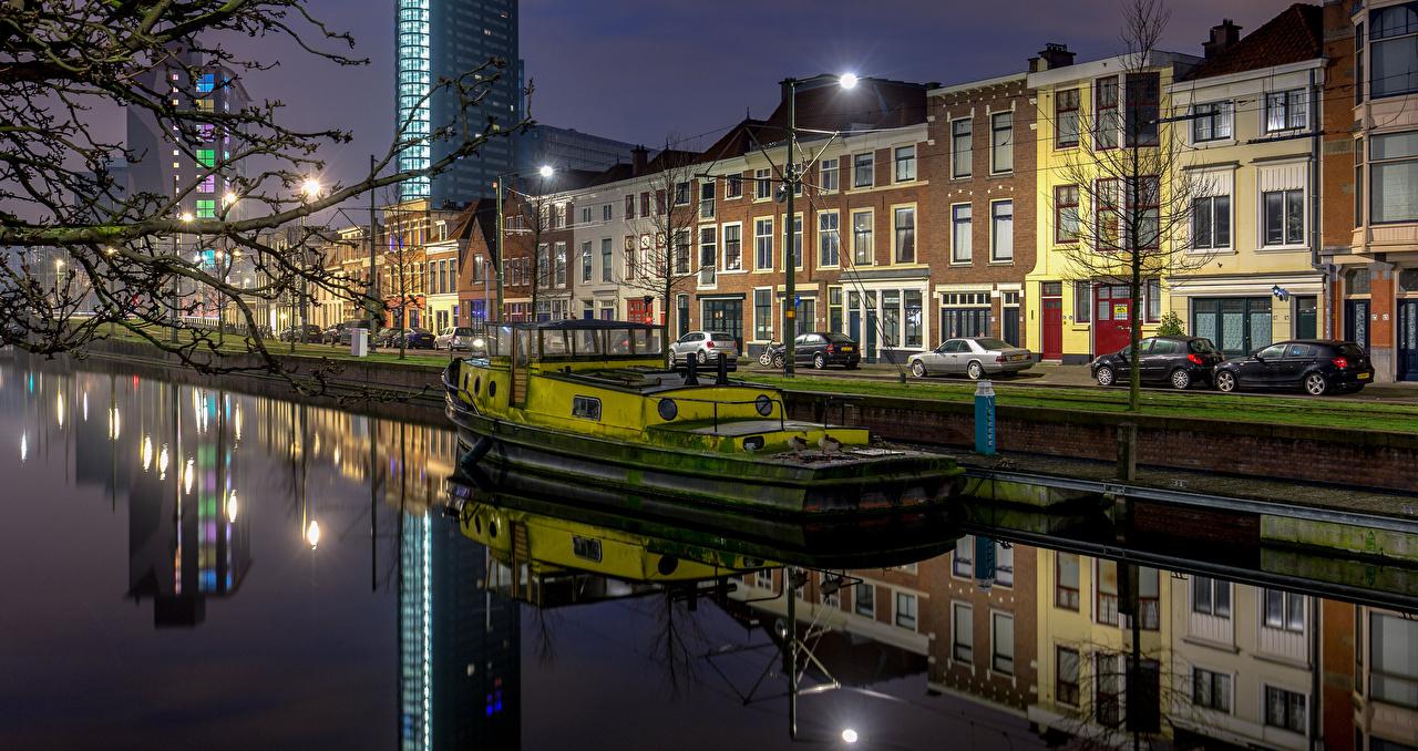 zdjęcie Holandia The Hague Statki rzeczne Waterfront Latarnia uliczna miasto budynek Domy Miasta budynki