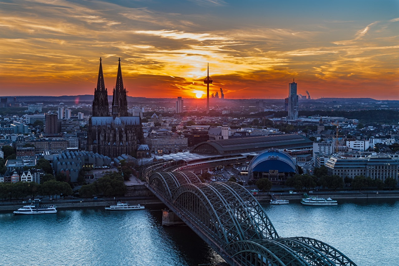 Image Cologne Cathedral Germany Rhine Bridges Riverboat sunrise and sunset Rivers Cities bridge Sunrises and sunsets river
