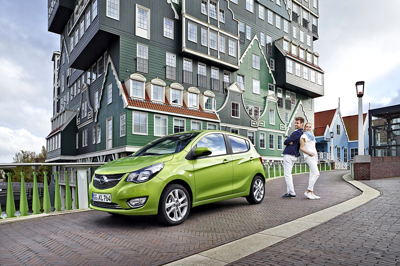 Photo Opel 2015 Karl lime color auto Metallic Houses Yellow green Cars automobile Building