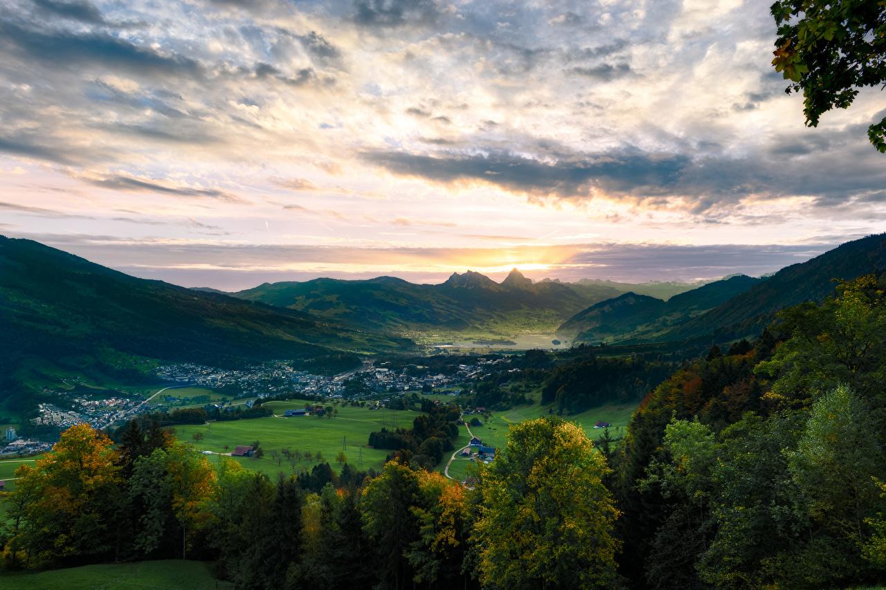 Images Alps Switzerland Lake Lauerz, Arth-Goldau Valley Nature mountain Sky Trees Mountains