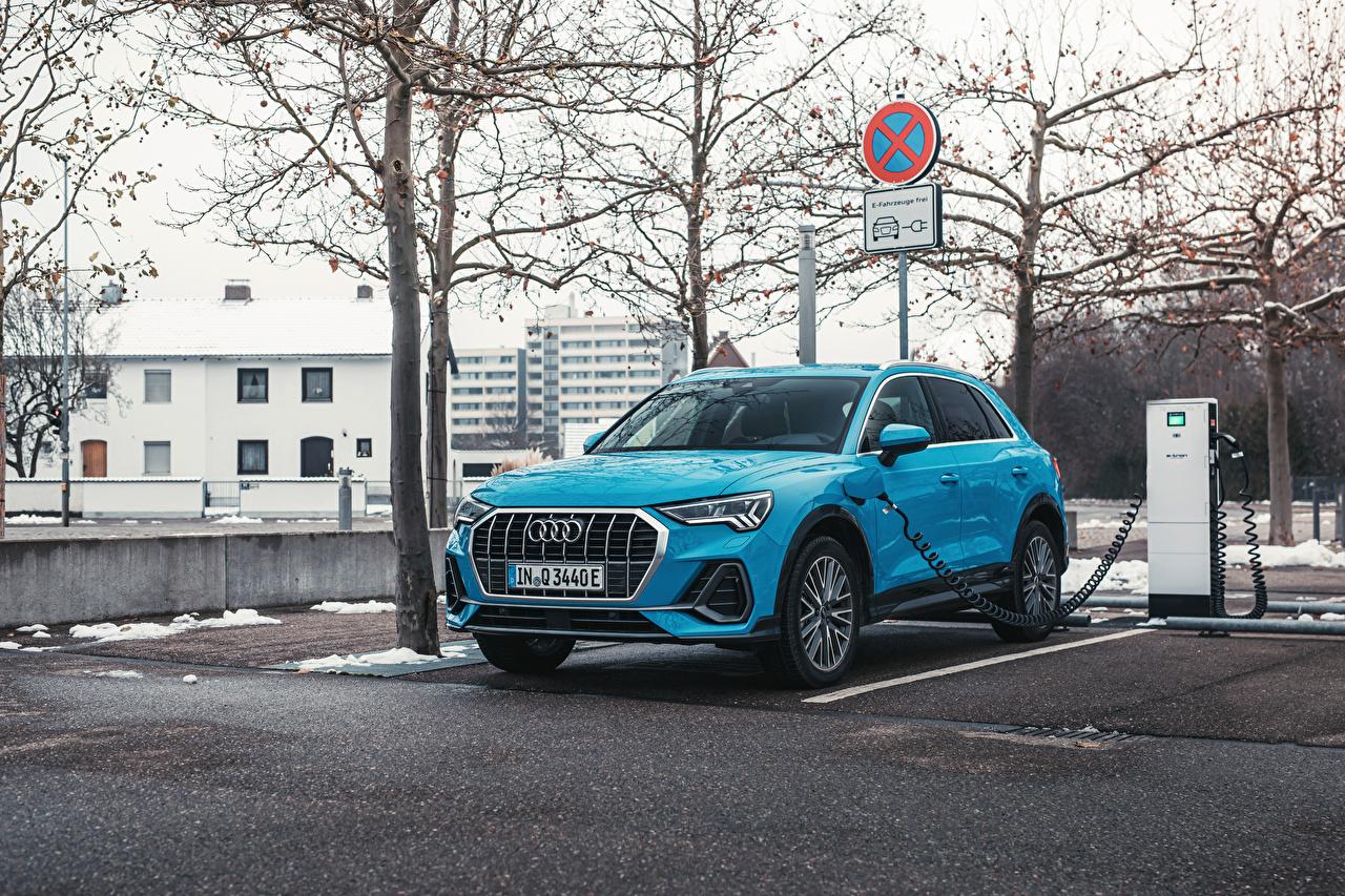 Photos Audi CUV Q3 45 TFSI e S line, 2020 Hybrid vehicle Light Blue Cars Metallic Crossover auto automobile