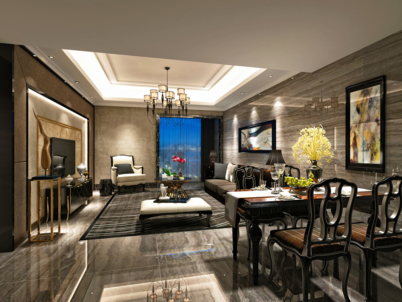Desktop Wallpapers lounge sitting room 3D Graphics Interior Table Chairs Chandelier Design Living room Chair