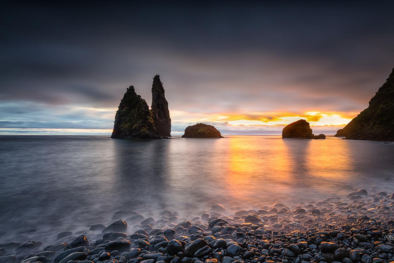 Photo Portugal Alagoa Crag Nature Sunrises and sunsets Bay Coast stone Rock Cliff sunrise and sunset Stones