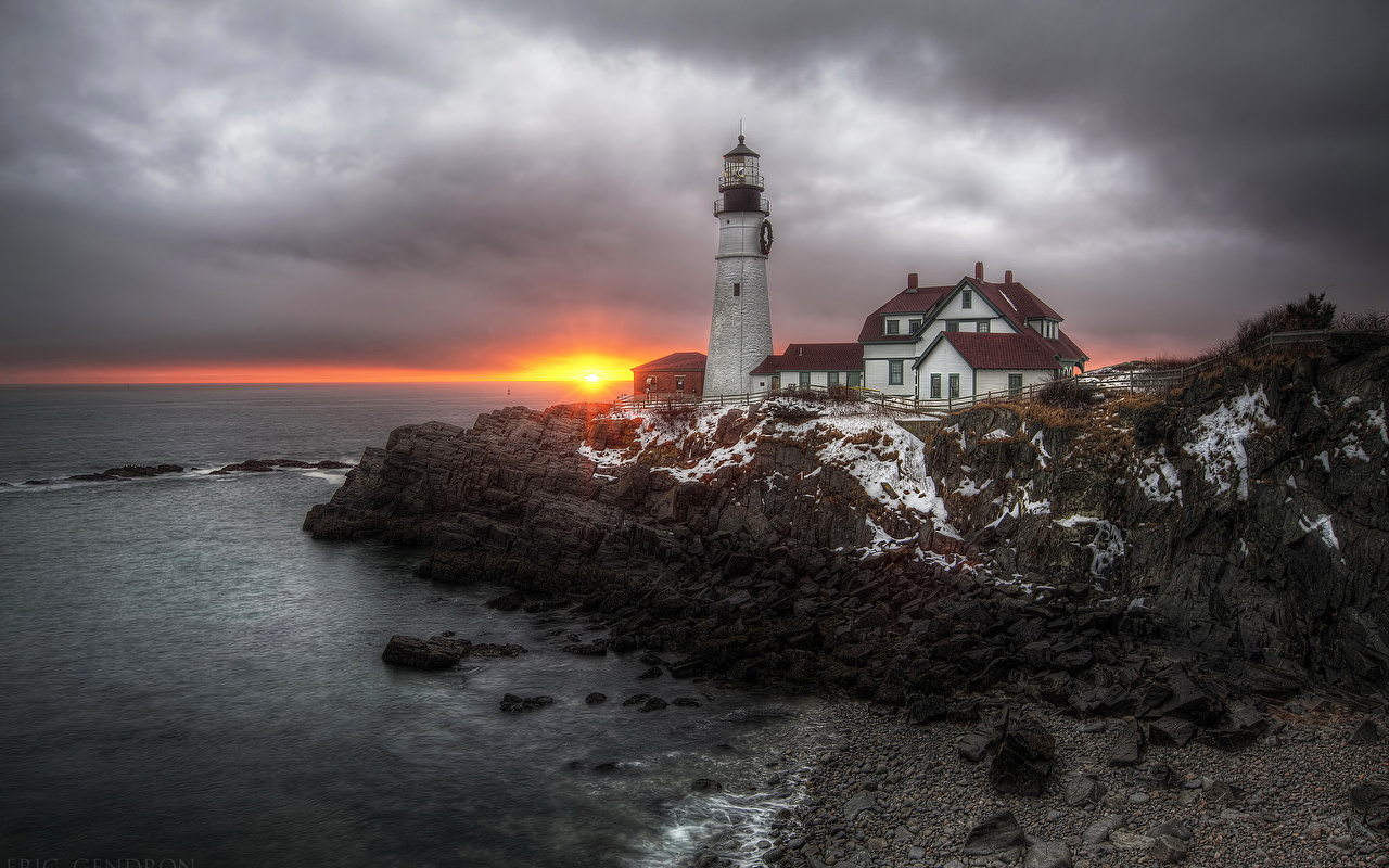 、海岸、灯台、朝焼けと日没、海、Maine Cape Elizabeth、、自然、