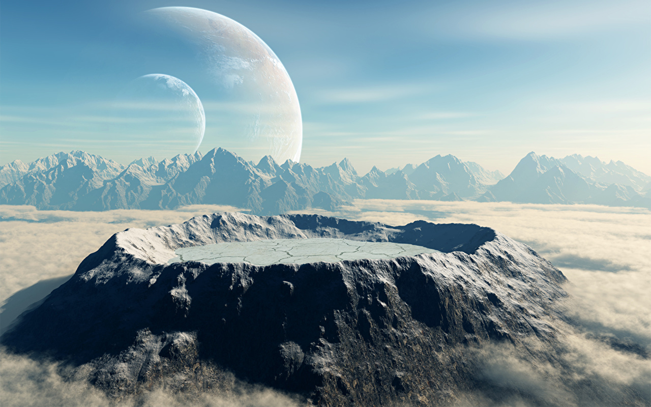 Desktop Wallpapers Planet Surface Of Planets Space 3d Graphics