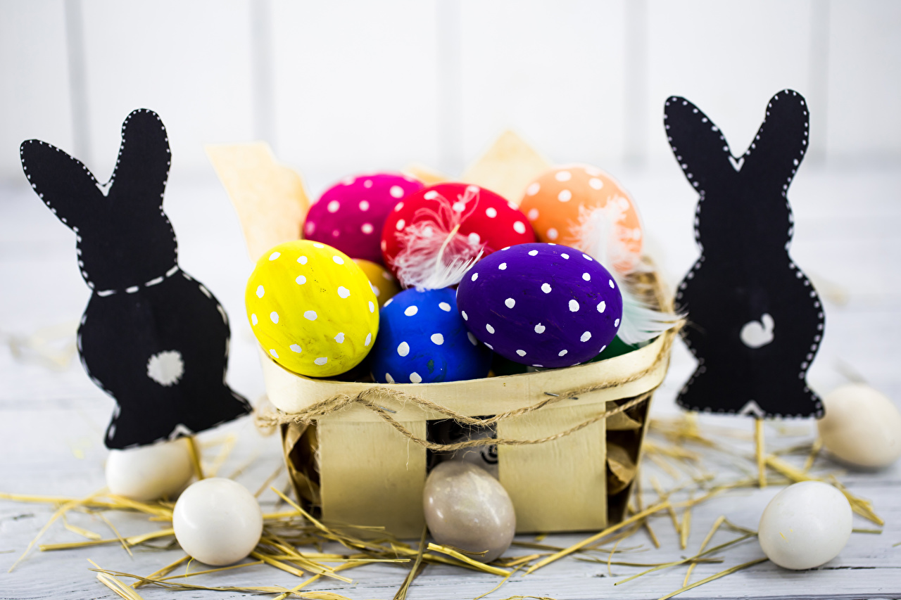 Picture Easter Rabbits Multicolor Eggs Wicker basket Food rabbit egg