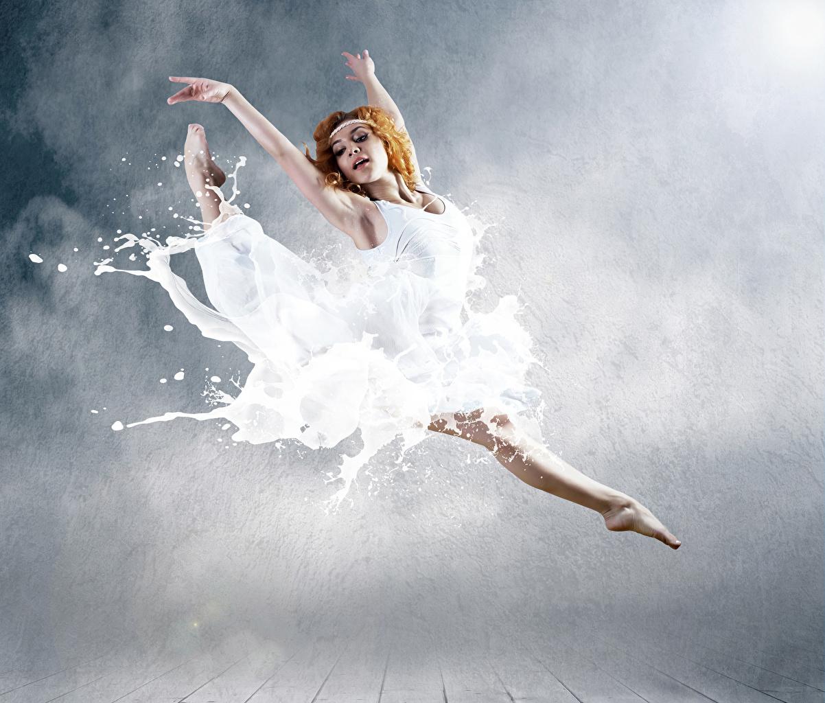 Hintergrundbilder Rotschopf Ballett Mädchens Sprung Hand Kleid