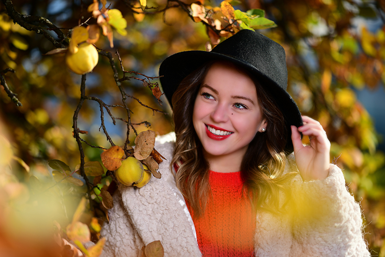 Desktop Wallpapers Foliage Smile Bokeh Cute Hat female Branches Leaf blurred background sweet pretty lovely Girls young woman