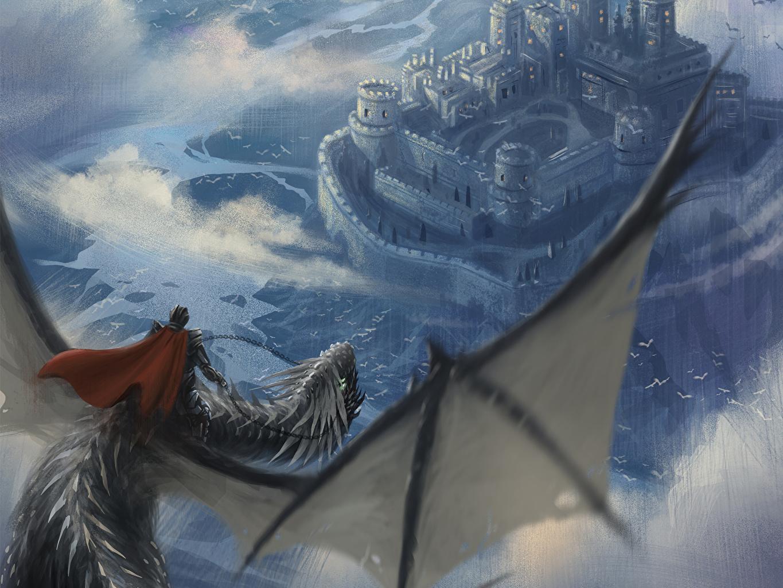 Foto's Draken Een harnas krijgers Burcht Fantasy Vlucht Mantel kleding Fantastische wereld een draak Krijger vliegende
