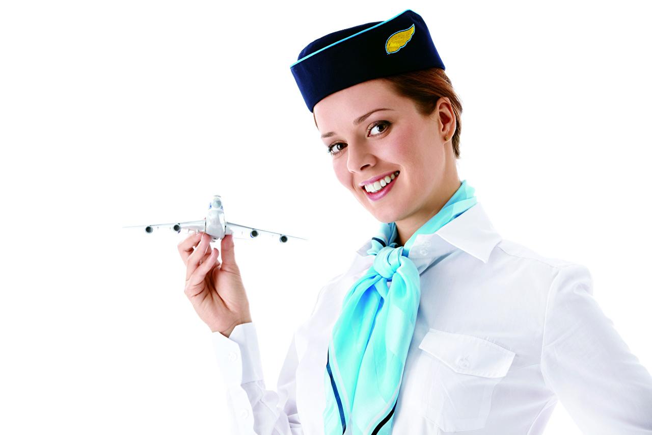 Afbeeldingen vliegtuig Stewardessen Glimlach Stropdas Jonge vrouwen Handen Uniform Kijkt Witte achtergrond Vliegtuigen jonge vrouw hand