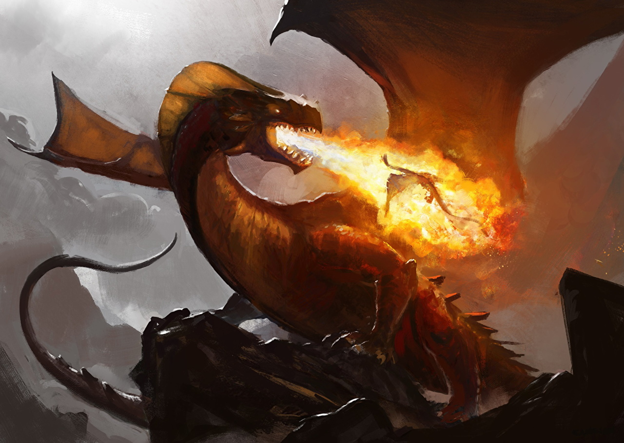 Pictures Dragons Wings Fantasy flame dragon Fire