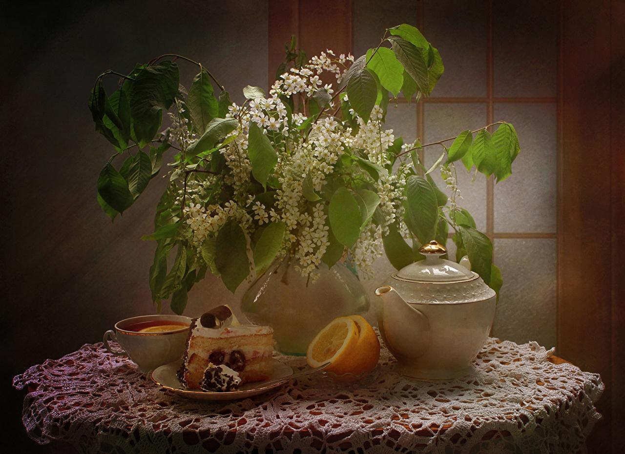 Image Tea Torte Lemons pieces Flowers Cup Vase Food Branches Still-life Flowering trees Cakes Piece flower
