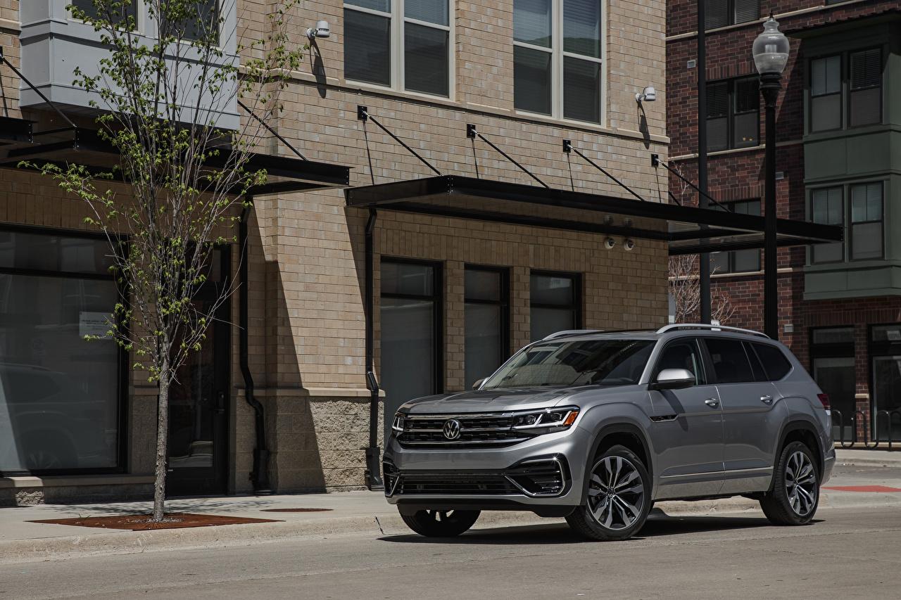 Wallpaper Volkswagen 2021 Atlas SEL V6 R-Line gray automobile Grey auto Cars