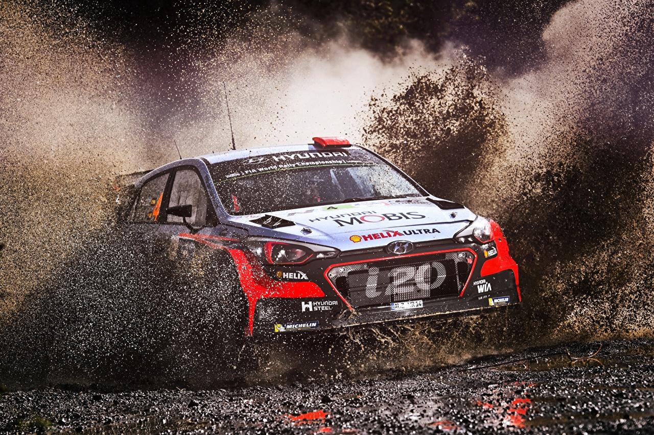 Bilder von Hyundai Rallye i20 WRC Wasser spritzt Schlamm automobil spritzwasser auto Autos