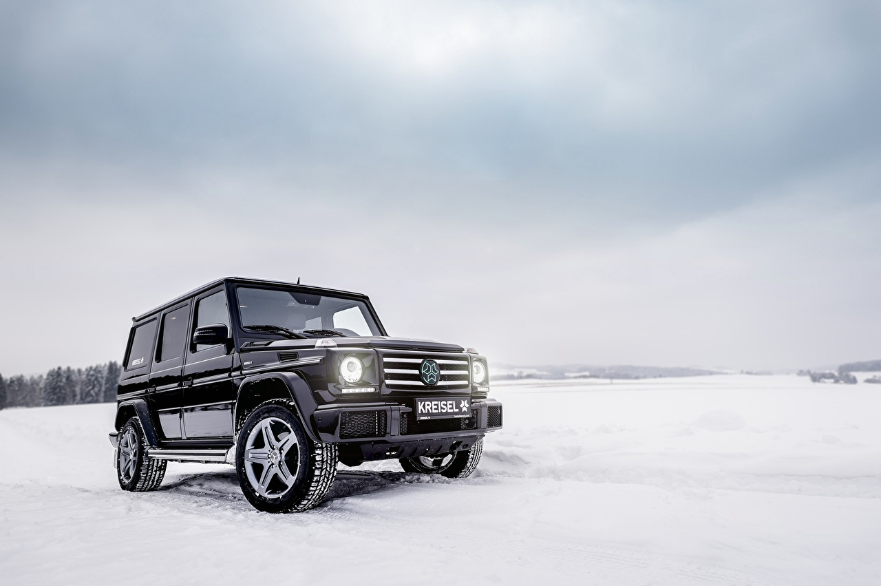 Picture Mercedes Benz G Class W463 Black Winter Snow Auto