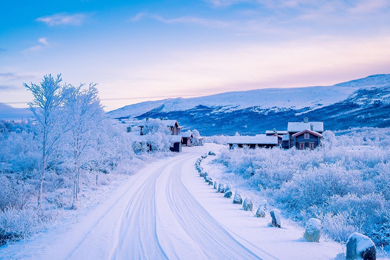 Desktop Wallpapers Norway Nature Winter Sky Snow Roads Building