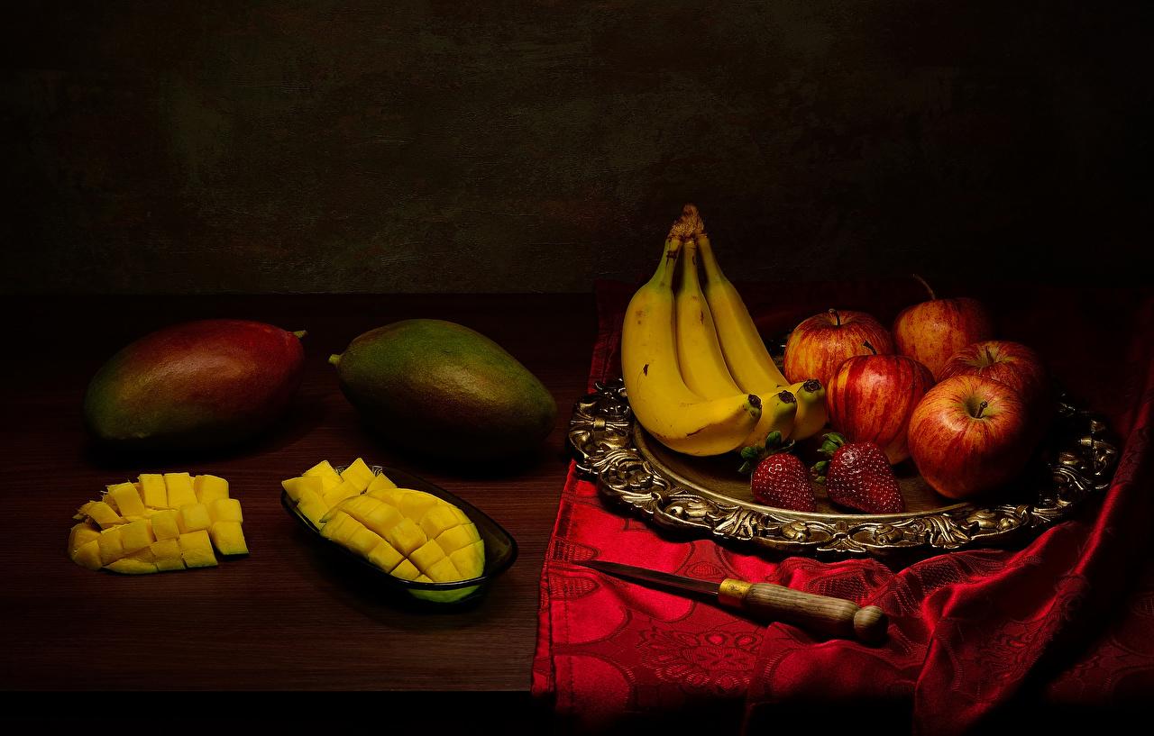 Foto Messer Äpfel Bananen Avocado Erdbeeren Obst das Essen Stillleben Lebensmittel