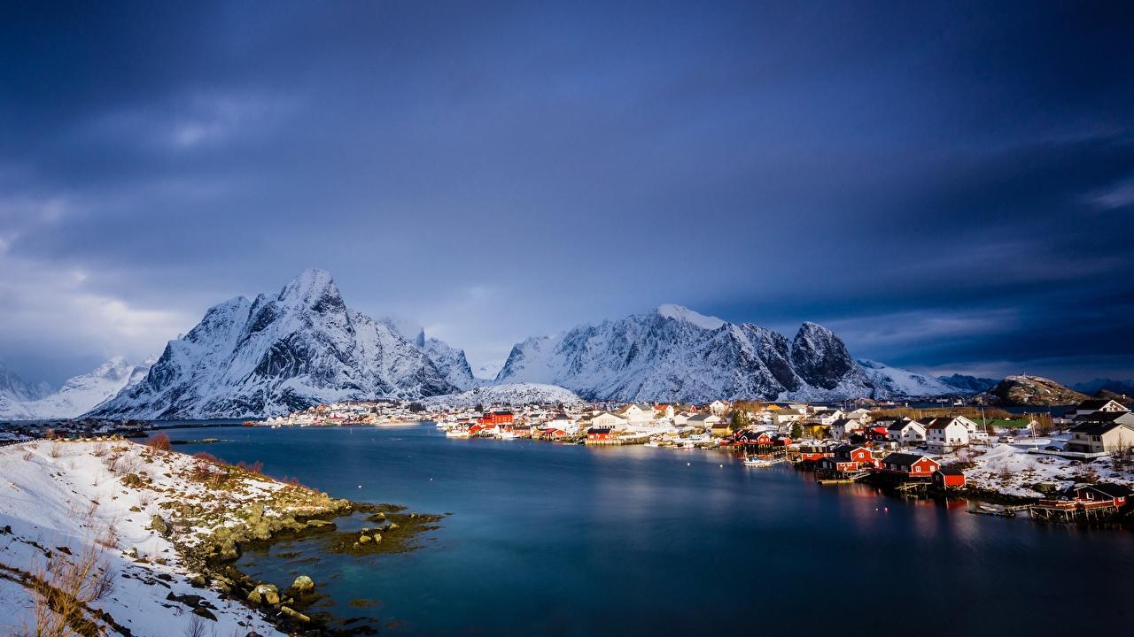 Bilder von Lofoten Norwegen Meer Natur Gebirge Schnee Haus Berg Gebäude