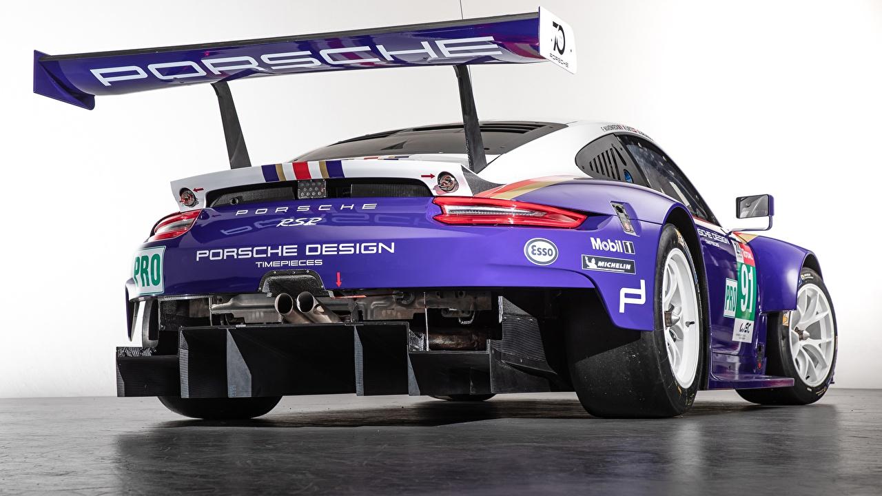 Picture Tuning Porsche 2018 911 RSR Violet Cars Back view White background auto automobile