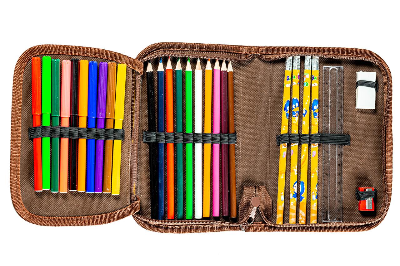 Bilder von Schule Bleistift pencil case Mehrfarbige Weißer hintergrund bleistifte Bunte