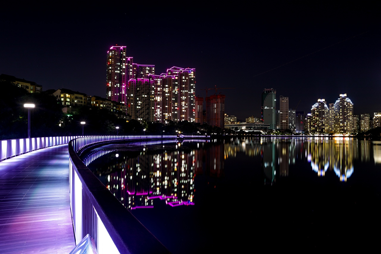 Picture South Korea city of Suwon, Gyeonggi province Waterfront night time Skyscrapers Cities Night
