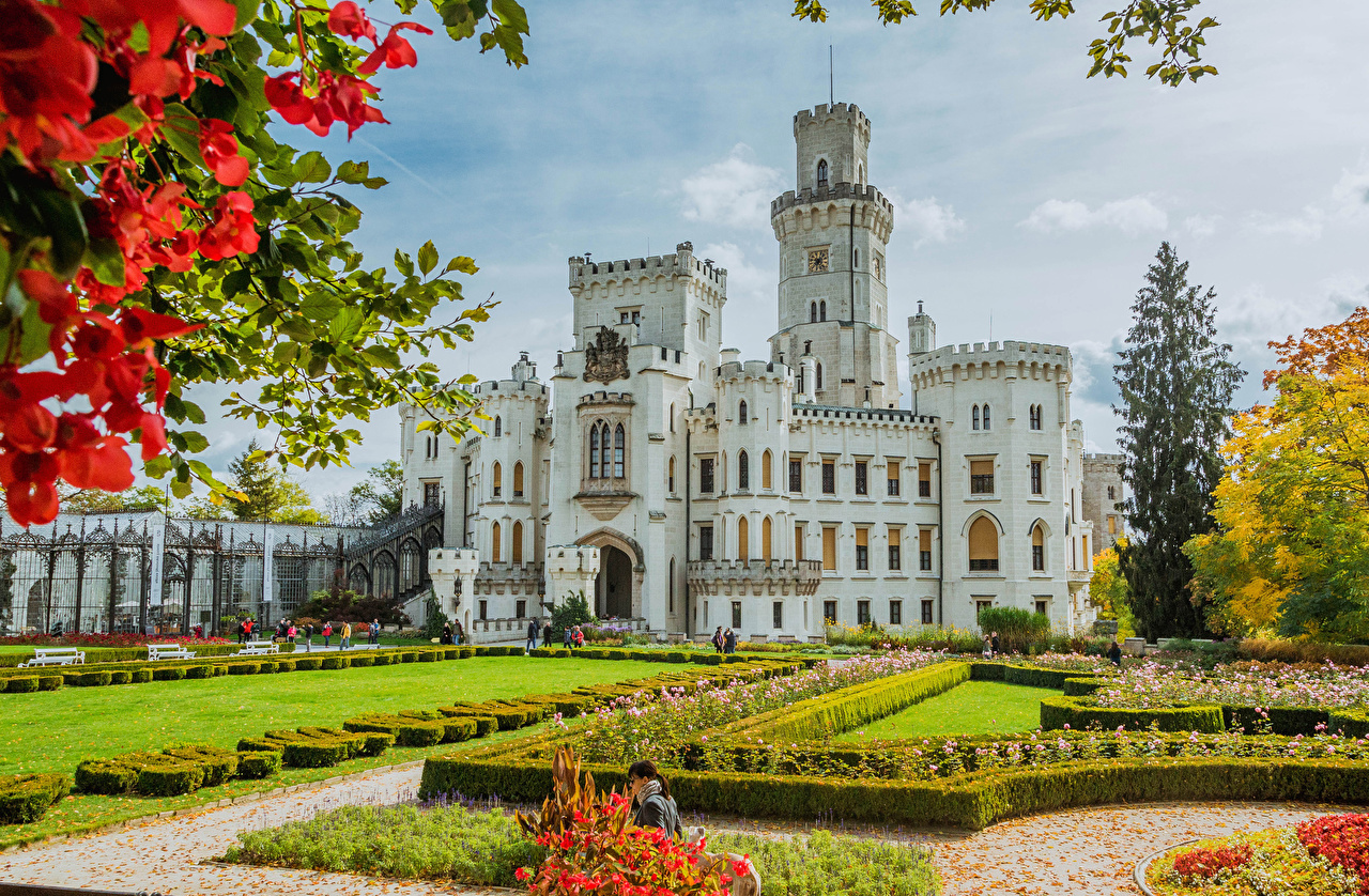 Photo Czech Republic Hluboka Castle castle Lawn Cities Shrubs Landscape design Castles Bush