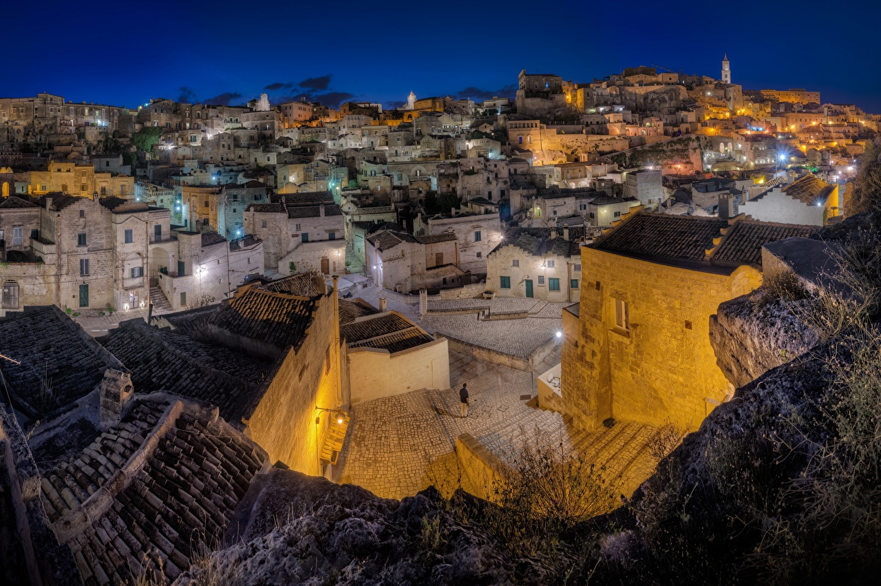 Images Italy Matera, Sasso caveoso Night Cities Building night time Houses