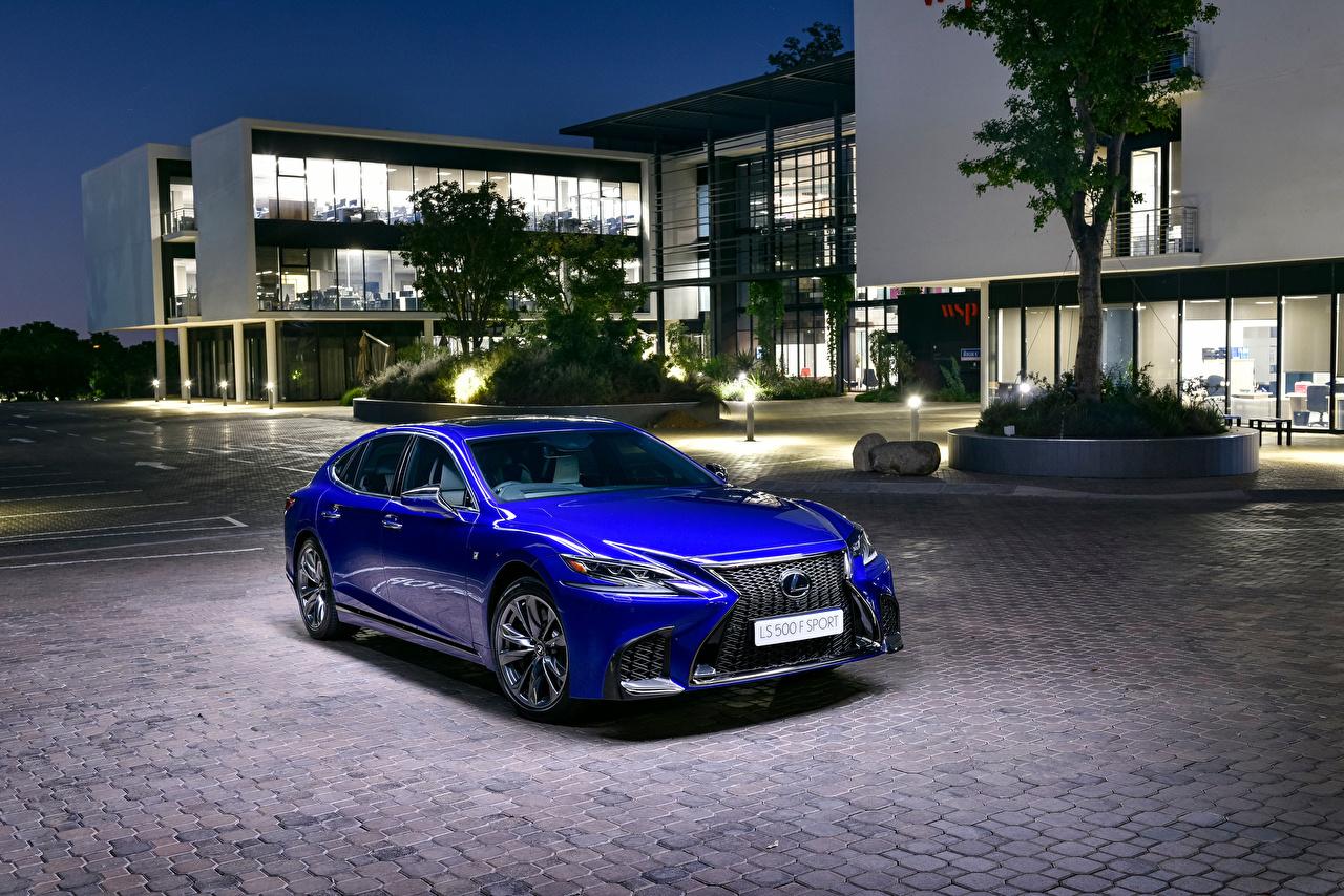 Images Lexus 2019 LS 500 F SPORT Blue auto Metallic Cars automobile