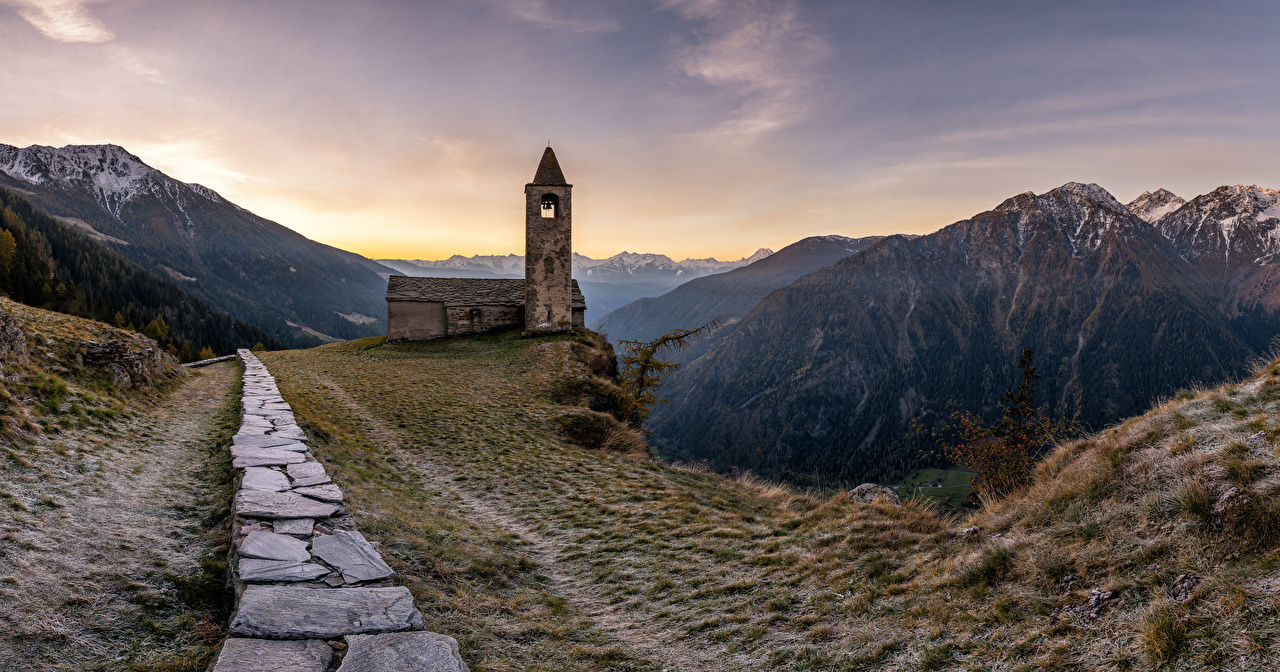 Image Church Switzerland towers San Romerio Nature Mountains Scenery Made of stone Tower mountain landscape photography