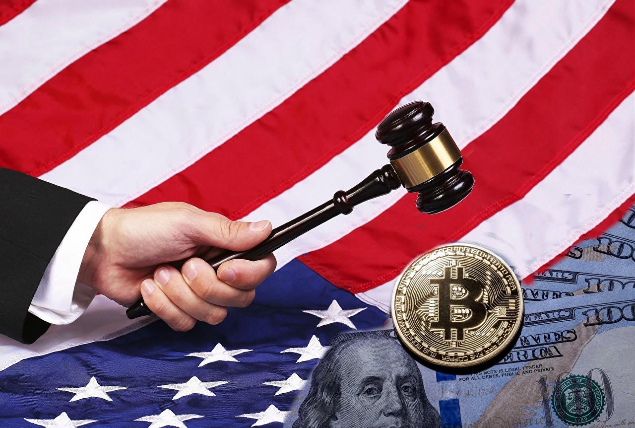 Sfondi Monete Bitcoin stati uniti Bandiera USA