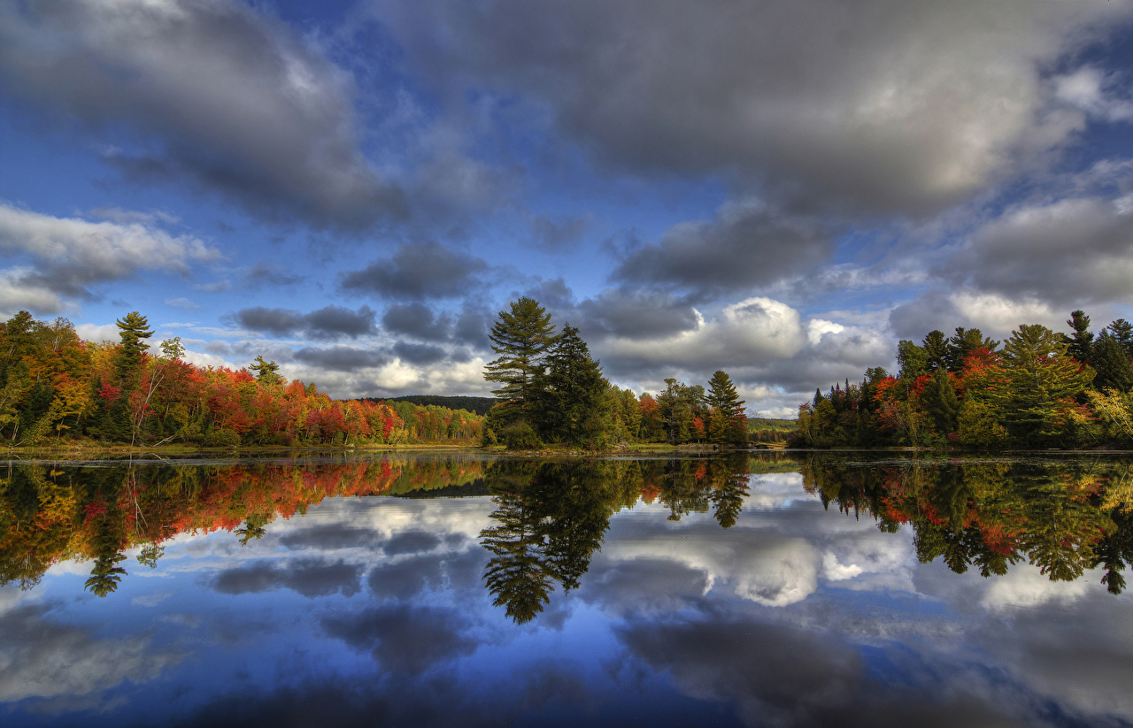 、カナダ、川、森林、秋、空、ケベック州、Kingsbury、、自然