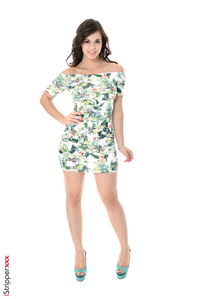 Fotos Nekane Sweet Brünette iStripper junge Frauen Bein Hand Weißer hintergrund Kleid Stöckelschuh  für Handy Mädchens junge frau High Heels