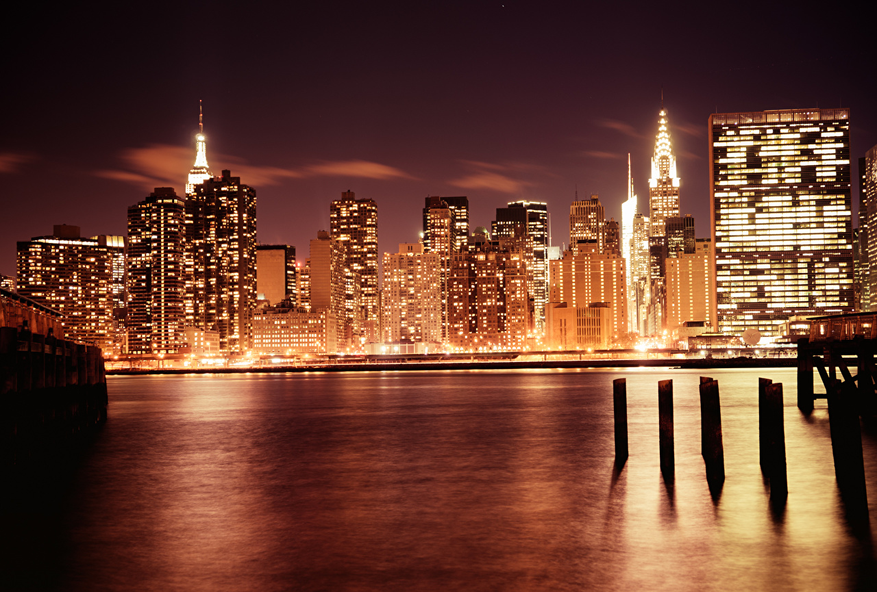 Pictures New York City Usa Megapolis Manhattan Coast Night Time