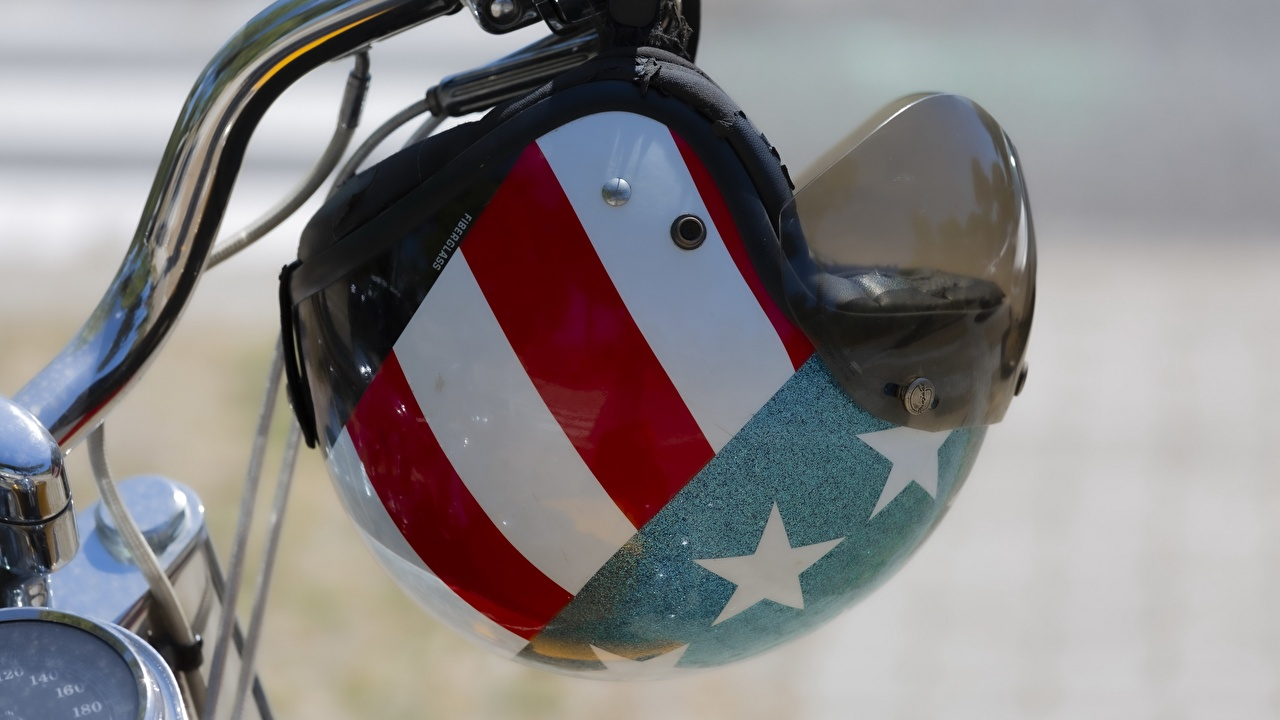 Desktop Wallpapers USA Helmet motorcycle Flag Closeup Motorcycles