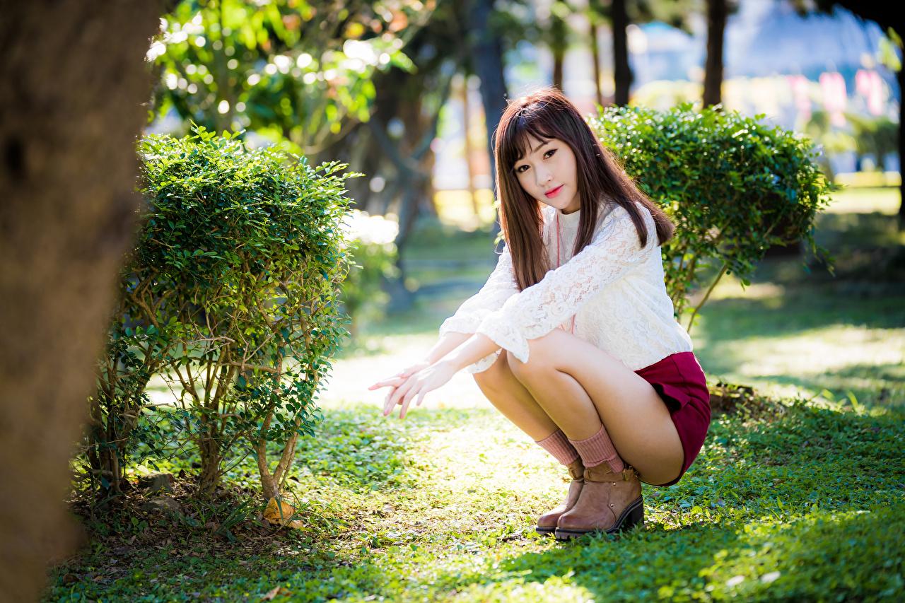 Foto Bluse Mädchens Bein Asiatische Sitzend Blick junge frau junge Frauen Asiaten asiatisches sitzt sitzen Starren
