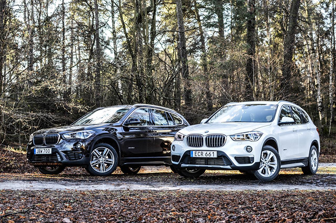 Desktop Wallpapers BMW 2015-16 X1 (F48-49) 2 Cars Metallic Two auto automobile
